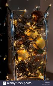 Lights For Glass Vases Christmas Decoration And Lights In Glass Vase Stock Photo
