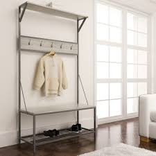 Hall Coat Rack With Storage Mudroom Metal Entryway Storage Bench With Coat Rack Mudrooms 25