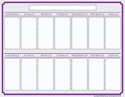 Weekly Calendar Free Print Free 2 Week Calendar Printable Calendar Template 2019