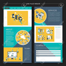 Business Concept One Page Website Design Template In Flat Style