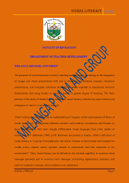 Visual Literacy Definitions Pdf Visual Literacy Michael P M Mhlanga Academia Edu