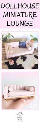 pink dolls house furniture. Miniature Sofa, Modern Couch, Lounge, Designer Pink Dollhouse Furniture, Blush   Dolls House Furniture