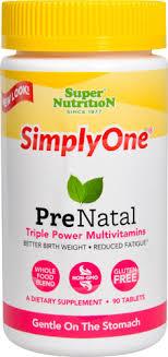 Super Nutrition <b>SimplyOne Prenatal Triple Power</b> Multivitamins -- 90 ...
