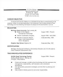 Objective For Teaching Resume Wikirian Com