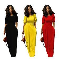 Half Sleeve Pocket Design High Waist Dress Yellow Black Red Casual O Neck Half Sleeve Maxi Bandage Dress With Pockets Latest Design Empire Waist Slim Ankle Length Dresses