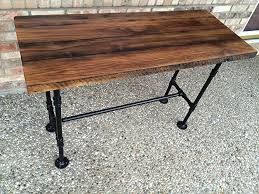 reclaimed wood desk table solid oak w 28 black iron pipe