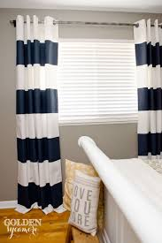 Catchy Nautical Striped Curtains Inspiration with Diy Painted Stripe  Curtains And Distressed Pipe Curtain Rod The