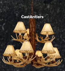 9 light cast antler chandelier with faux leather shades hover to zoom