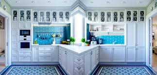Faucets : Country Kitchen Ideas White Cabinets Blue Tile Back Splash ...