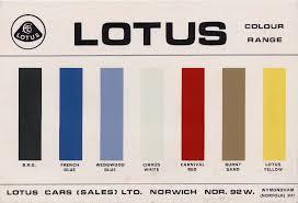 1967 Lotus Color Chart Lotus Europa S2