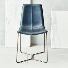 blue leather dining room chairs. Interesting Slope Leather Dining Chair For Your Room Design: Awesome Slate Blue Chairs