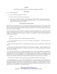Format Of Aoa Article Of Association As Per New Companies Act 2013
