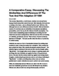 essay theme totalitarianism international baccalaureate a comparative essay discussing the similarities and differences of the text and film adaption