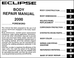 mitsubishi eclipse body manual original this manual covers all 2000 mitsubishi eclipse models including gs gt rs coupe this book is in new condition measures 8 5 x 11 and is 0 31 thick