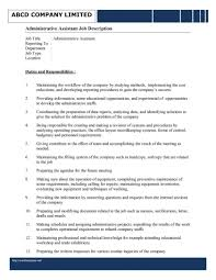 Project Administrator Job Description Template Resume Staggering