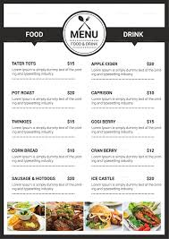 A La Carte Menu Template Catering Services Menu Template