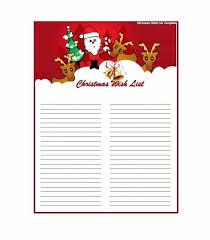 Christmas Wish List Paper Wish List Template Free Christmas List