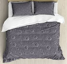 space duvet cover set with pillow shams asteroid surface crater print
