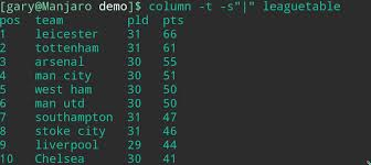 Display File Contents In Column Format Within Linux