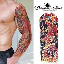 Full Sleeve Arm Temporary Tattoo Realistic Dragon Fire Flames Mens