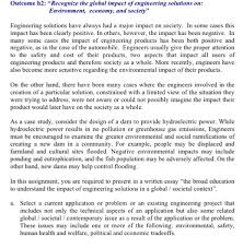 outcome h recognize the global impact of enginee com question outcome h2 recognize the global impact of engineering solutions on environment economy and soc