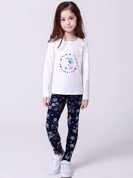 Pant And Shirt Printing Flowers Shivering Regular Casual Round Collar Girls T