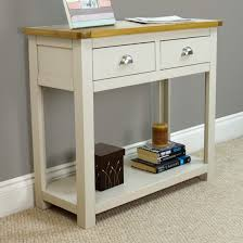 painted console table. Wellington Painted Console Table With Shelf / Grey Hall Solid Oak Top