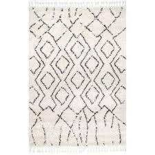 erin moroccan diamond tassel off white 4 ft x 6 ft area rug
