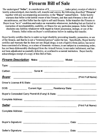 Firearm Bill Of Sale Template