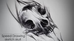 Speed Drawing Charcoal Sketch Tattoo Style Skull Animal