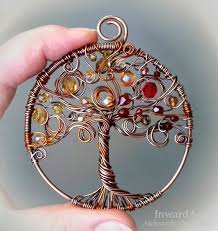 life pendant wire wrapped copper tree