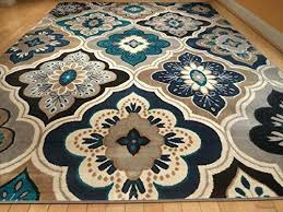 teal color carpet new modern blue gray brown rug area rug casual area rug large contemporary