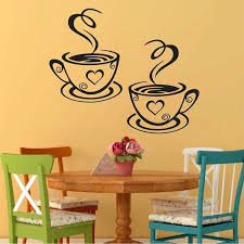 wish new arrival trebdy mural beautiful design decal kitchen restaurant cafe tea wall stickers art vinyl coffee cups stickers wall decor