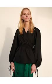 Блузка из поплина с <b>имитацией</b> запаха, RESERVED, YM059-99X