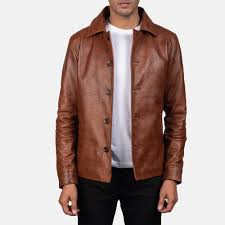 men s waffle brown leather jacket 1