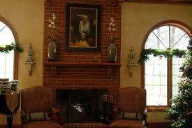 white fireplace and brown wood mantel ideas for brick fireplace rustic home interior design with red brick wall of black