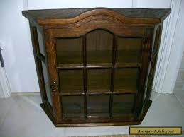 wall curios antique vintage all wood oak large curio display cabinet for case hanging curved glass