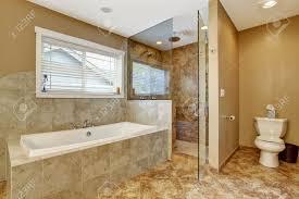Bathroom Interior Door Modern Bathroom Interior With Tile Wall Trim And Tile Floor