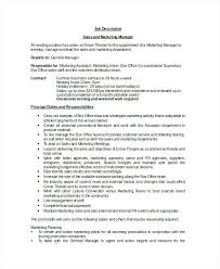 Assistant Marketing Manager Job Description Sales Marketing Manager