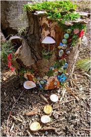DIY Colorful Tree Stump Fairy Garden With Glass Marbles