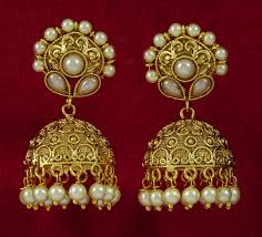 indian pretty gold dangle earrings indian style gold jhumka earrings design for women