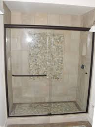 1 4 clear tempered glass frameless bypass doors with one towel bar and knob
