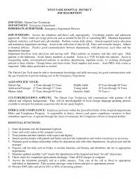 Clever Job Summary Patient Care Technician Job Description For Resume  Essential Function And Additional Information On