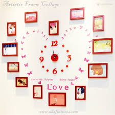 menories forever these happy love brown artistic wooden frame picture collage with red diy wall clock