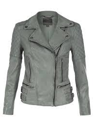 rokel green grey leather biker jacket