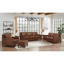 brown leather 4 piece living room set