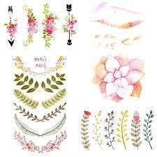105x6 см акварельный лист цветок лотоса временные татуировки