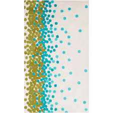 abigail dots rug in light blue and green on ivory