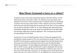 oliver cromell hero or villain gcse history marked by  document image preview