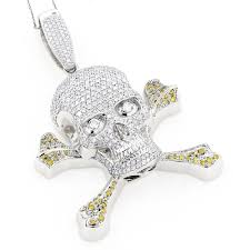 14k gold white yellow diamond skull pendant 10 62ct wh